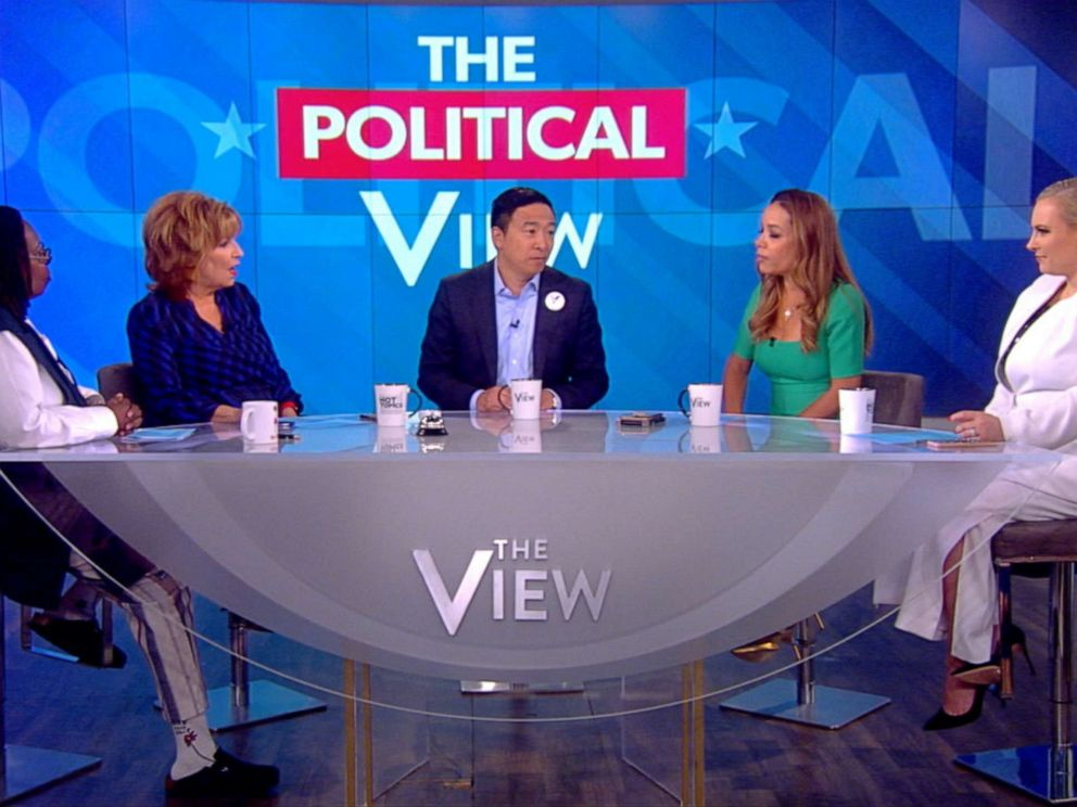 PHOTO: Democratic presidential candidate and entrepreneur Andrew Yang makes a guest appearance on ABCs The View, July 8, 2019.