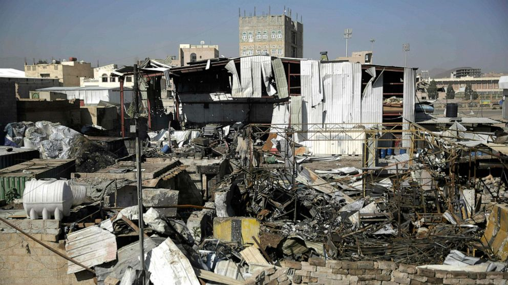 The site of an airstrike by Saudi-led coalition in Sanaa, Yemen, April 10, 2019.