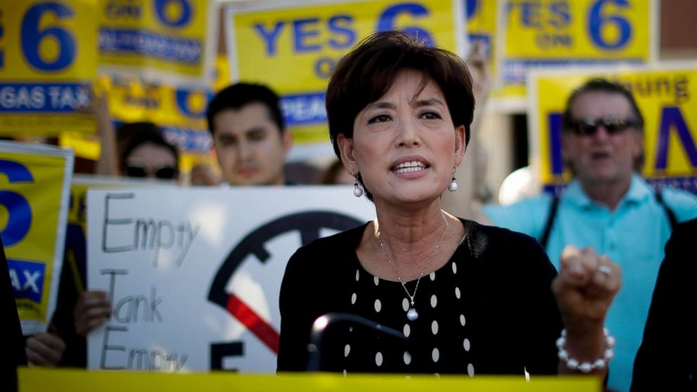 Young Kim, running for a U.S. House seat in the 39th District in California, speaks at a anti-gas tax rally in Fullerton, Calif., Oct. 1, 2018. Kim is trying to become the first Korean-American woman elected to Congress.