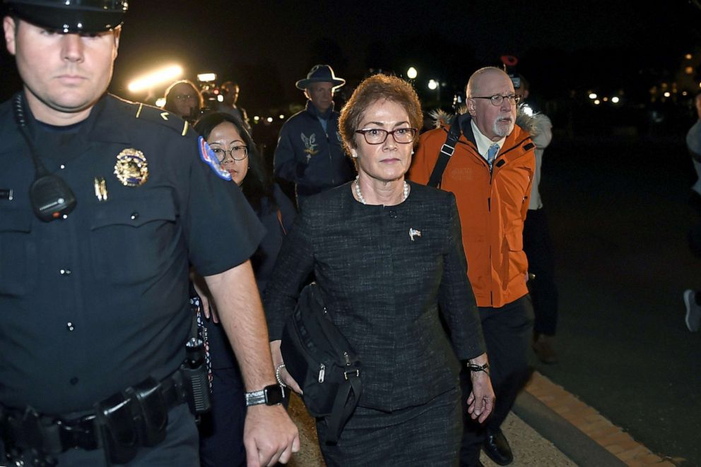 PHOTO:Former US Ambassador to Ukraine Marie Yovanovitch flanked by lawyers, aides and Capitol police, leaves the Capitol, Oct. 11, 2019.