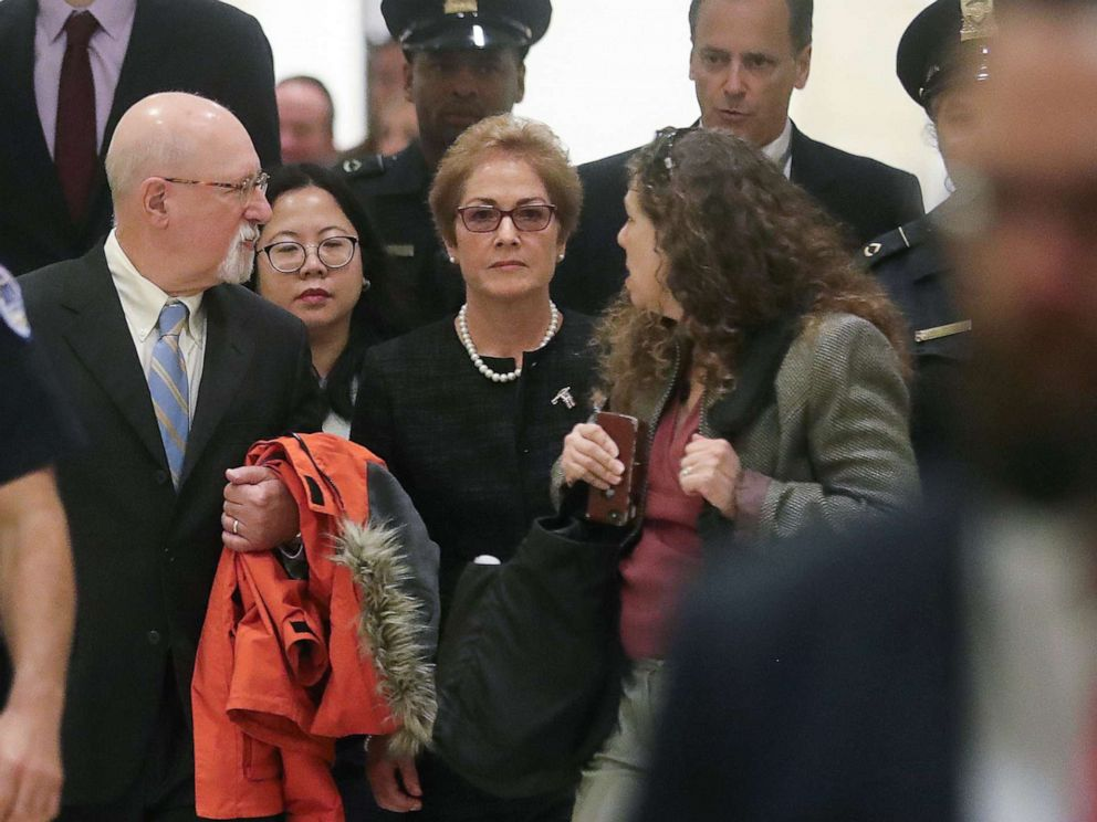 PHOTO: Former U.S. ambassador to Ukraine Marie Yovanovitch arrives to testify in the U.S. House of Representatives impeachment inquiry into President Trump on Capitol Hill in Washington, D.C., Oct. 11, 2019.