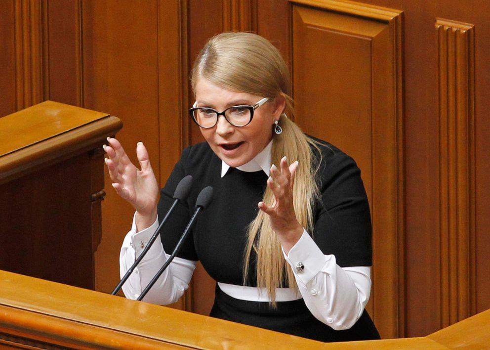 PHOTO: Leader of the Batkivshchyna (The Motherland) political party Yulia Tymoshenko speaks during a Parliament session of Verkhovna Rada, in Kyiv, Ukraine, Oct. 2, 2019.