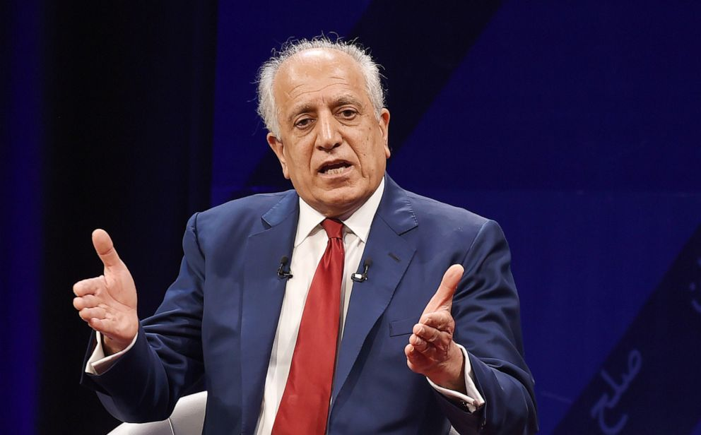 PHOTO: In this file photo taken on April 28, 2019, US special representative for Afghan peace and reconciliation Zalmay Khalilzad speaks during a forum with Afghan director of TOLO news Lotfullah Najafizada, at the Tolo TV station in Kabul, Afghanistan.