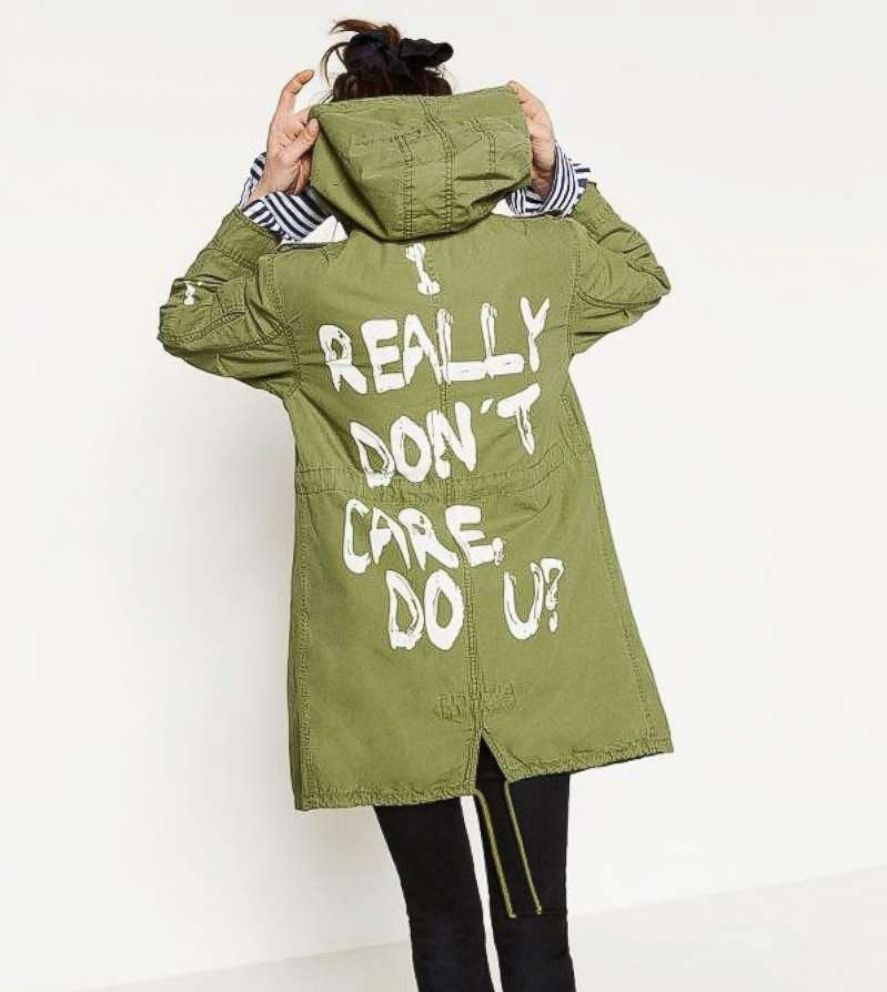 PHOTO: A model wears a jacket from Zara that reads, I really dont care, do u?