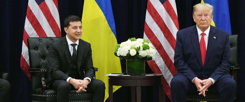 PHOTO: President Donald Trump and Ukrainian President Volodymyr Zelenskiy hold a meeting in New York, Sept. 25, 2019.