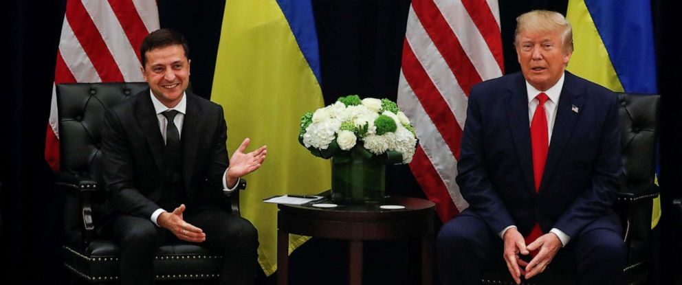 PHOTO:President Donald Trump, right, listens during a meeting with with Ukraines President Volodymyr Zelenskiy in New York City, Sept. 25, 2019.