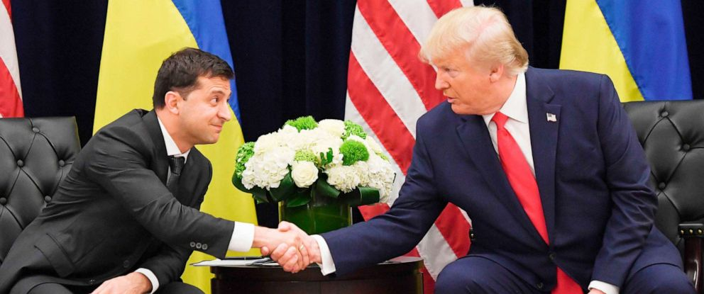 PHOTO: President Donald Trump and Ukrainian President Volodymyr Zelenskiy shake hands during a meeting in New York on Sept. 25, 2019.
