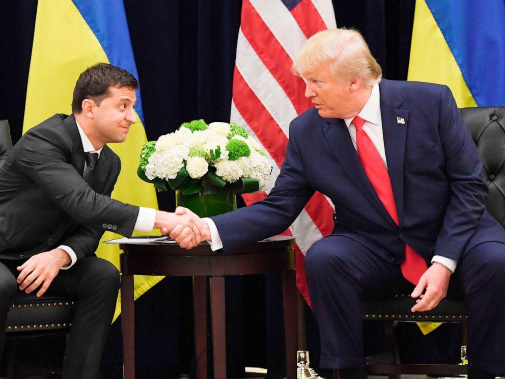 PHOTO: President Donald Trump and Ukrainian President Volodymyr Zelenskiy shake hands during a meeting in New York on Sept. 25, 2019.