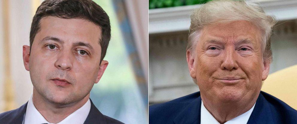 PHOTO: Ukraines President Volodymyr Zelenskiy, left, and President Donald Trump, right.