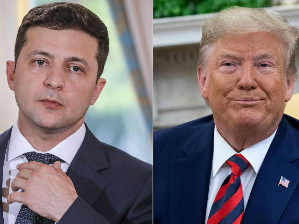 PHOTO: Ukraines President Volodymyr Zelenskiy, left, and President Donald Trump, right.