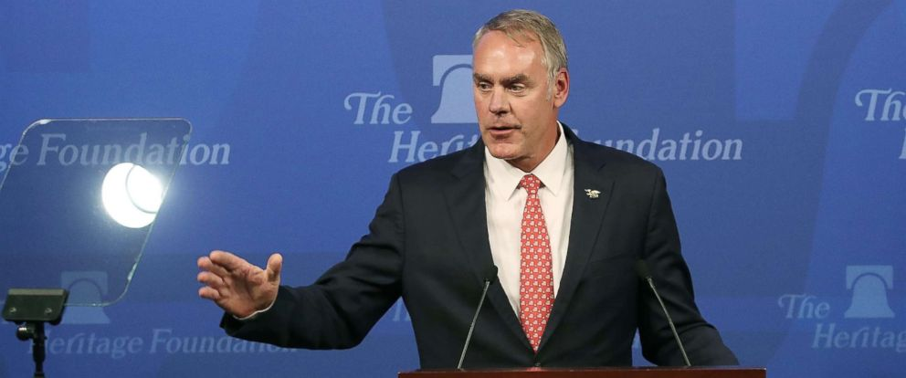 "PHOTO: Interior Secretary Ryan Zinke delivers a speech billed as ""A Vision for American Energy Dominance"" at the Heritage Foundation, Sept. 29, 2017, in Washington, D.C."
