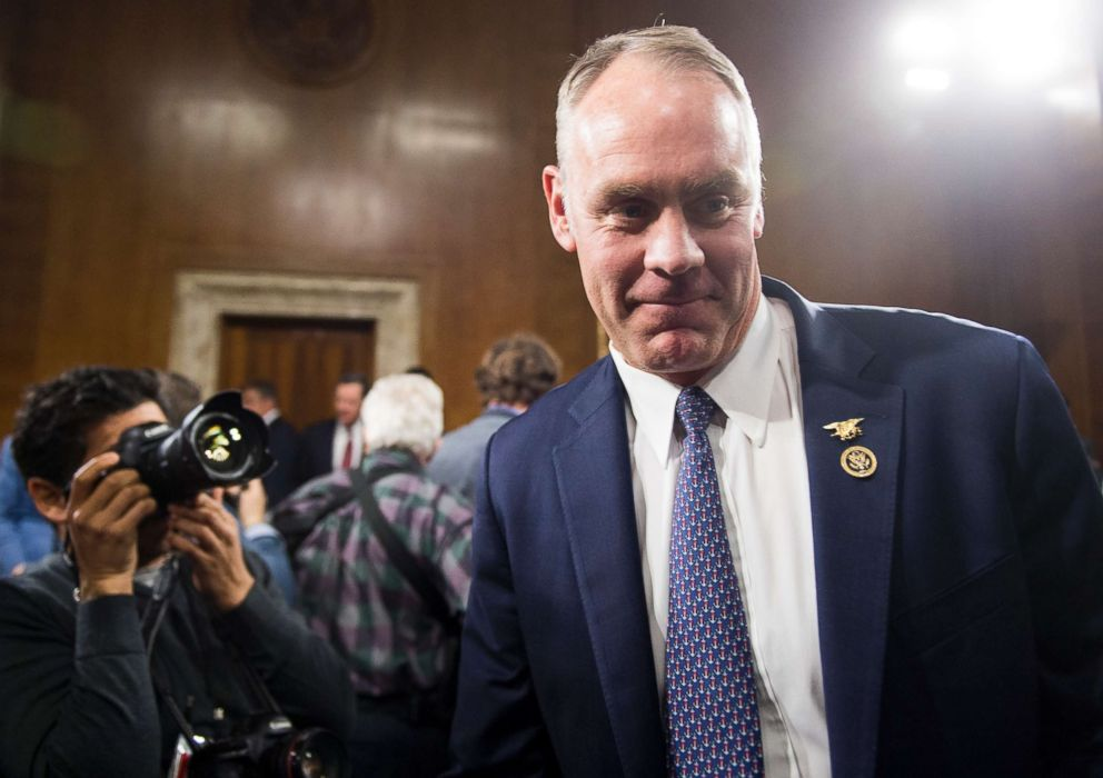 PHOTO: Secretary of the Interior nominee Rep. Ryan Zinke, R-Mont., before the start of his confirmation hearing in the Senate Energy and Natural Resources Committee, Jan. 17, 2017.
