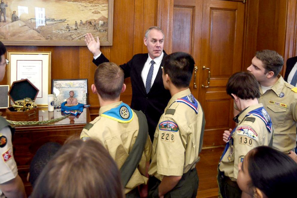 PHOTO: Secretary of the Interior Ryan Zinke in his office in a photo posted to his Twitter account, March 1, 2018.