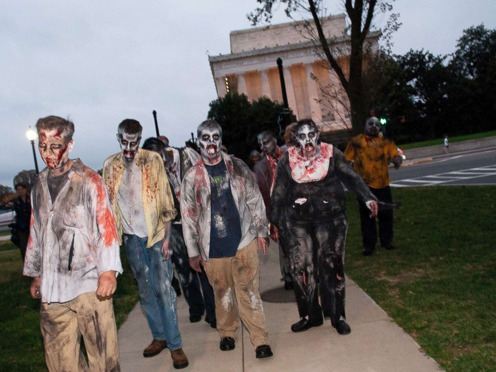 PHOTO: Zombies walk the streets during the Worldwide Zombie Invasion at Lincoln Memorial, in this file photo dated Oct. 26, 2010, in Washington.