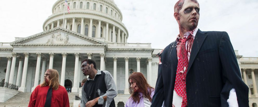 "PHOTO: In this file photo dated Oct. 3, 2012, zombies stumble across the East Plaza of the U.S. Capitol to promote ""The Warehouse: Project 4.1"" urban haunted house in Rockville, Md."