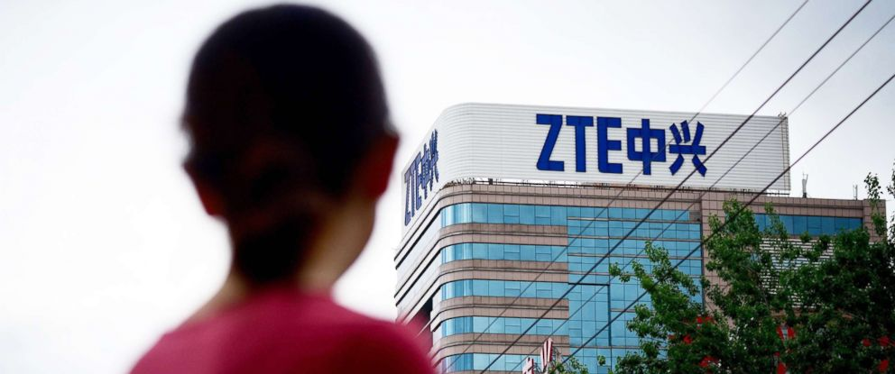 PHOTO: The ZTE logo is pictured on a building in Beijing on May 2, 2018.