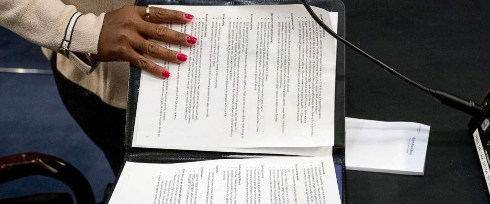 PHOTO: An aide to Facebook CEO Mark Zuckerberg closes a binder of notes left on the table as Zuckerberg takes a short break from testifying before a joint hearing of the Commerce and Judiciary Committees on Capitol Hill, April 10, 2018.