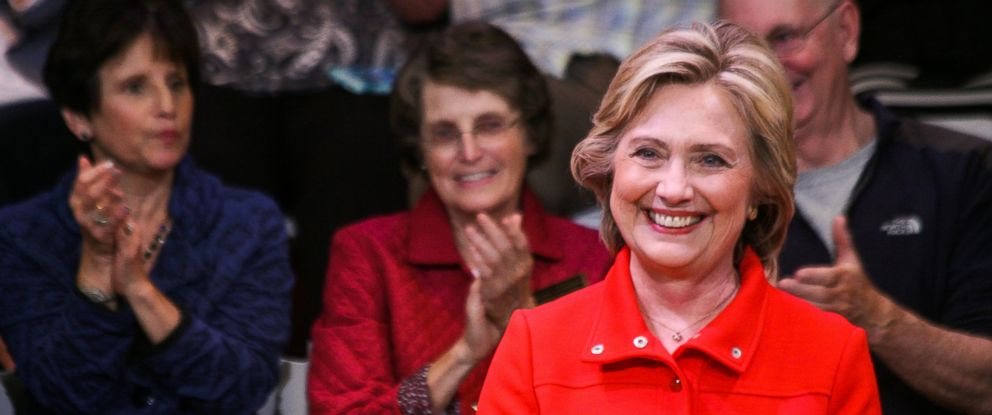 PHOTO: Democratic presidential nominee Hillary Clinton smiles while being introduced at a town hall meeting campaign event at Keene State College on Oct. 16, 2015.