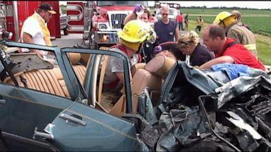 PHOTO: Witnesses claim a mystery man saved a car crash victim with a prayer