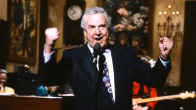 "PHOTO: Don Pardo is seen on the set of ""Saturday Night Live"" in this March 14, 1992, file photo."