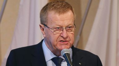 PHOTO: International Olympic Committee Vice President John Coates delivers a speech during an IOC-Tokyo 2020 1st Project Review session in Tokyo, April 3, 2014.