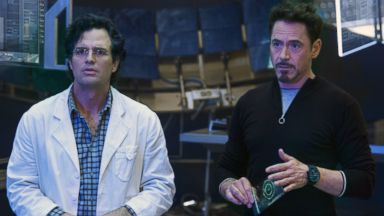 "PHOTO: Mark Ruffalo, left, as Bruce Banner/Hulk and Robert Downey Jr. as Tony Stark/Iron Man, in a scene from Marvels ""Avengers: Age of Ultron."""