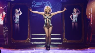 """PHOTO: Britney Spears rehearses """"Britney: Piece of Me"""" at Planet Hollywood Resort & Casino, Dec. 26, 2013, in Las Vegas."""