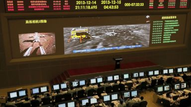 PHOTO: Researchers work in the control room of the Change-3 lunar probe after it landed on the moon and deployed a moon rover at the Beijing Aerospace Control Center in Beijing, as reported Dec. 15, 2013.