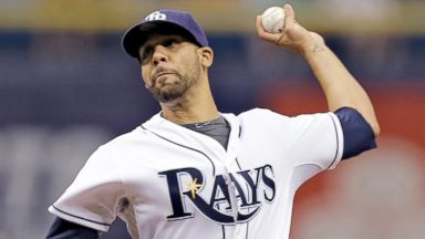 PHOTO: Tampa Bay Rays pitcher David Price pitches during the first inning against the Boston Red Sox in St. Petersburg, Fla., July 25, 2014.