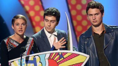 """PHOTO: From left, Shailene Woodley, Nat Wolff and Ansel Elgort accept an award for """"?The Fault In Our Stars""""? at the Teen Choice Awards at the Shrine Auditorium on Aug. 10, 2014, in Los Angeles."""