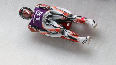 PHOTO: Samuel Edney of Canada in action during a mens singles luge training session ahead of the Sochi 2014 Winter Olympics at the Sanki Sliding Center in Sochi.