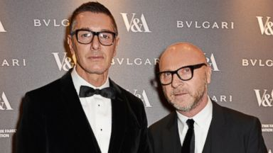 PHOTO: Stefano Gabbana and Domenico Dolce attend a private dinner celebrating the Victoria and Albert Museums new exhibition The Glamour Of Italian Fashion 1945 - 2014 at Victoria and Albert Museum, April 1, 2014 in London.