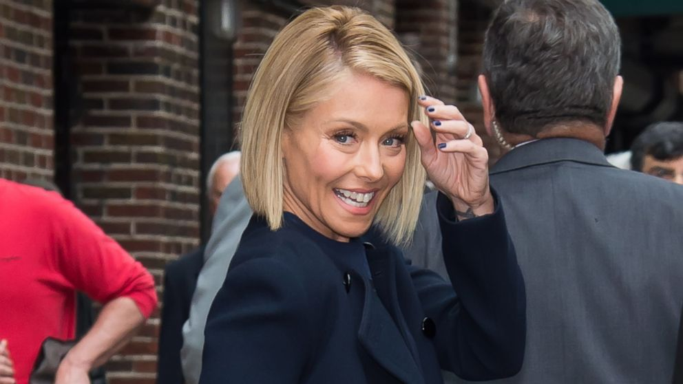 Kelly Ripa is seen leaving the 'Late Show With David Letterman' taping at the Ed Sullivan Theater, Sept. 24, 2014, in New York.