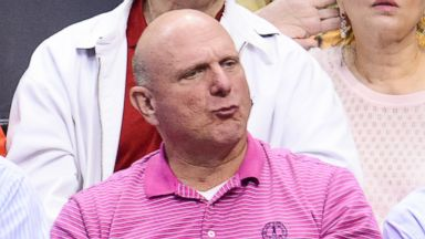 PHOTO: Steve Ballmer attends an NBA playoff game between the Golden State Warriors and the Los Angeles Clippers at Staples Center, April 29, 2014, in Los Angeles.