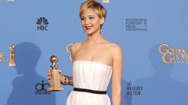 PHOTO: Jennifer Lawrence poses in the press room during the 71st Annual Golden Globe Awards held at The Beverly Hilton Hotel, Jan. 12, 2014, in Beverly Hills, Calif.