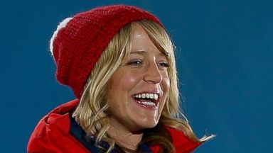 PHOTO: Bronze medalist Jenny Jones of Great Britain celebrates during the medal ceremony for the womens snowboard slopestyle Finals on day 2 of the Sochi 2014 Winter Olympics at Medals Plaza, Feb. 9, 2014 in Sochi, Russia.