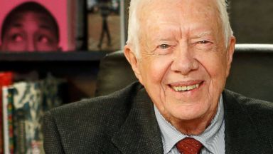 "PHOTO: Jimmy Carter poses for a photo as he promotes his book ""A Call To Action Women, Religion, Violence, And Power"" at Barnes & Noble, March 25, 2014, in New York City."