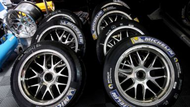 PHOTO: Michelin tires are stacked for preview at the Le Mans 24 Hour race at the Circuit de la Sarthe, June 21, 2013, in Le Mans, France.