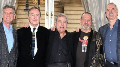 PHOTO: John Cleese, Eric Idle, Terry Gilliam, Michael Palin and Terry Jones attend conference to make an announcement about a Monty Python Reunion, Nov. 21, 2013, in London.