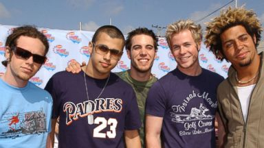 PHOTO: O-Town arrives at the 15th Annual Nickelodeon Kids Choice Awards, at The Barker Hanger in Santa Monica, Calif., April 20, 2002.