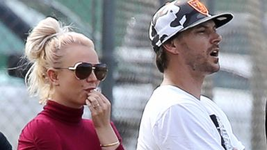 PHOTO: Britney Spears and Kevin Federline reunite to watch the kids play soccer in Los Angeles, Oct. 27, 2013.