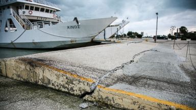 PHOTO: In this Jan. 26, 2014 image earthquake damage is visible at a port in the island of Kefalonia, western Greece after an earthquake damaged homes and injured at least seven people.