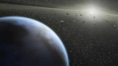 PHOTO: An artists impression showing an asteroid belt around a star similar in size to the sun.