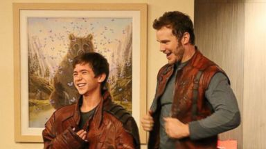 "PHOTO: Chris Pratt visits with patients while wearing his Star-Lord costume from ""Guardians of the Galaxy"" in this photo tweeted by Childrens Hospital in Los Angeles, Calif. on August 20, 2014."
