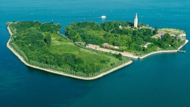 PHOTO: Pictured is an aerial view of Poveglia on April 12, 2013, near Venice, Italy.