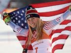 PHOTO: American Mikaela Shiffrin poses on the podium during the victory ceremony for the womens giant slalom, Feb. 15, 2018.
