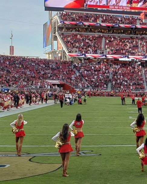 49ers cheerleader takes a knee during national anthem at Raiders game - ABC  News 4be69b24c