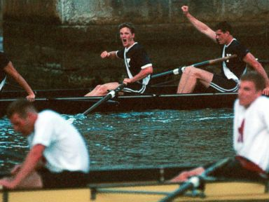 PHOTO: Yales senior-dominated varsity rowing crew, rear, celebrates after rowing to a comeback victory, June 5, 1999, on the Thames River in New London, Conn., in the four-mile Yale-Harvard Regatta.