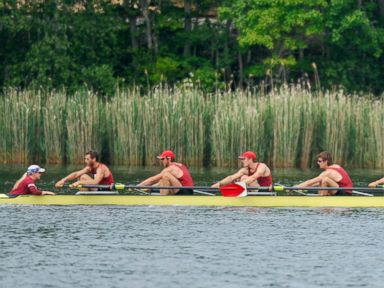 PHOTO: Harvards crew races the four-mile course along the Thames Rivers for the 145th Harvard-Yale Regatta in New London, Conn., May 29, 2010.