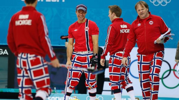 PHOTO: Norways mens curling team wears flag pants during a training session, Sunday, Feb. 9, 2014, in Sochi, Russia.